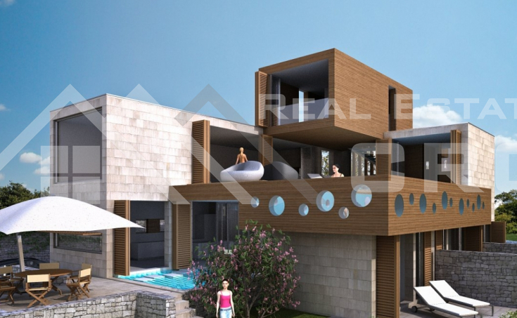 Luxurious villa under construction, for sale, seafront, Korcula island
