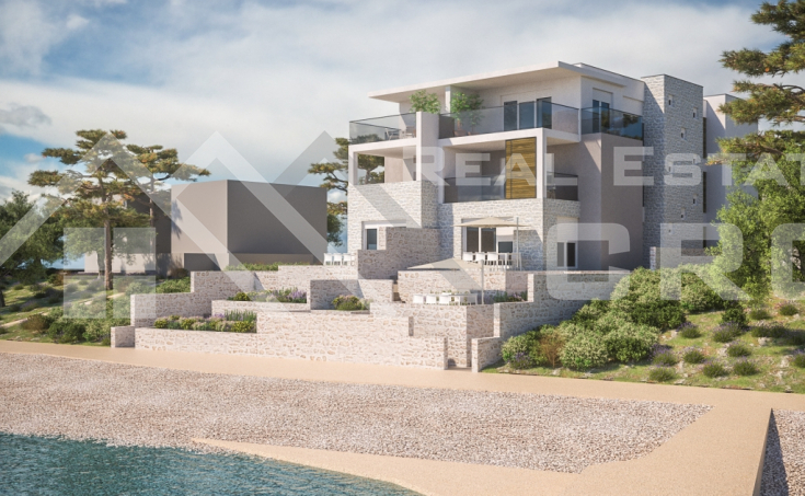 Apartments under construction for sale, first line to the sea, surroundings of Sibenik