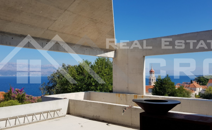 Modern villa under construction with extraordinary sea view, Brac Island, Sutivan