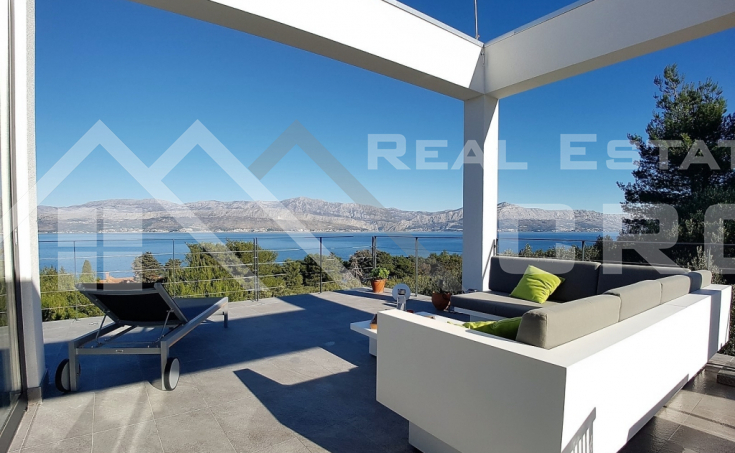 Brac Property - Modern villa with beautiful sea view for sale, Splitska, island Brac