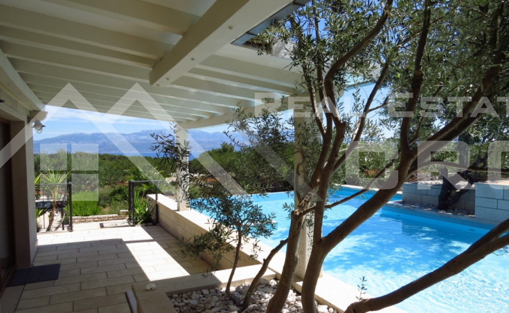 Real Estate Brac - Luxury villa with swimming pool, private lake and amazing sea view, for sale, Sutivan, Brac Island