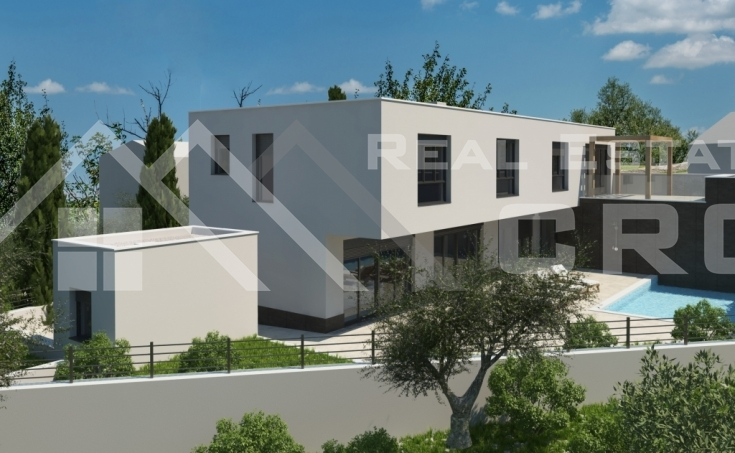 Modern villa under construction with sea view, for sale, Milna, Brac Island