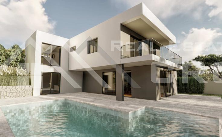 Nekretnine Omiš - Vila u izgradnji s bazenom i predivnim pogledom na more, na prodaju