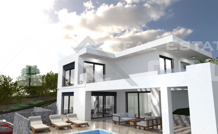 Trogir properties – Luxurious villa under construction with beautiful sea view, for sale