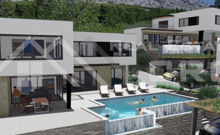 Nekretnine Omiš - Luksuzna vila u izgradnji s bazenom i prekrasnim pogledom na more, na prodaju